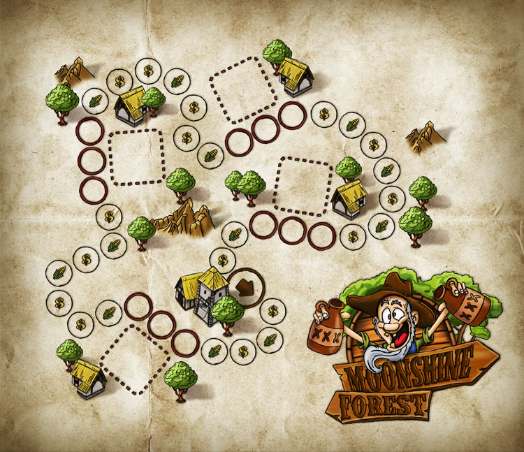 the gameboard-design of moonshine forest